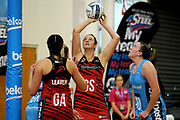 Nicola Mackle of the Tactix takes a shot at goal during the ANZ Premiership match between the Southern Steel and the Tactix, held at Edgar Centre, Dunedin, New Zealand, on 7th May 2017. Credit: Joe Allison / www.photosport.nz
