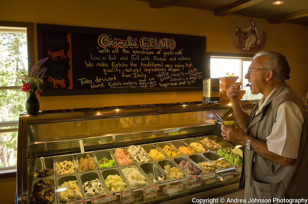 Carmeli's Ice Cream shop near Kelowna, Okanagan, British Columbia, Canada