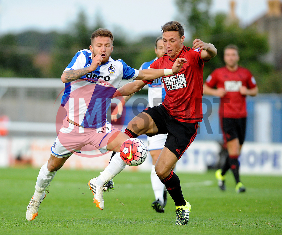 Matty Taylor of Bristol Rovers challenges James Chester of West Brom - Mandatory by-line: Neil Brookman/JMP - 07966386802 - 31/07/2015 - SPORT - FOOTBALL - Bristol,England - Memorial Stadium - Bristol Rovers v West Brom - Pre-Season Friendly