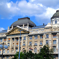 Ministry of Interior Building in Budapest, Hungary <br /> Zsigmond Quittner designed this eclectic building for the Hungarian Commerce Bank. It opened near the Chain Bridge in 1905. More recently it has been the headquarters for the Ministry of Interior, one of eight ministry offices of the Hungarian government. As of this writing in 2017, plans were under way to move the Ministries of the Interior and Economy from the East Bank across the Danube to Castle Hill in Buda.