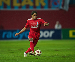 TRABZON, TURKEY - Thursday, August 26, 2010: Liverpool's Glen Johnson in action against Trabzonspor during the UEFA Europa League Play-Off 2nd Leg match at the Huseyin Avni Aker Stadium. (Pic by: David Rawcliffe/Propaganda)