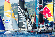 Emirates Team New Zealand during a practice start. Extreme Sailing Series Practice day in Nice. 1/10/2014