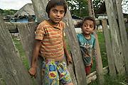 Two Roma boys in the all-Roma village of Poiana Negustiorului in Bacau County, Romania.
