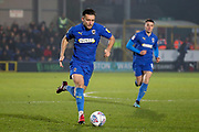 AFC Wimbledon defender Luke O'Neill (2) dribbling during the EFL Sky Bet League 1 match between AFC Wimbledon and Southend United at the Cherry Red Records Stadium, Kingston, England on 1 January 2020.