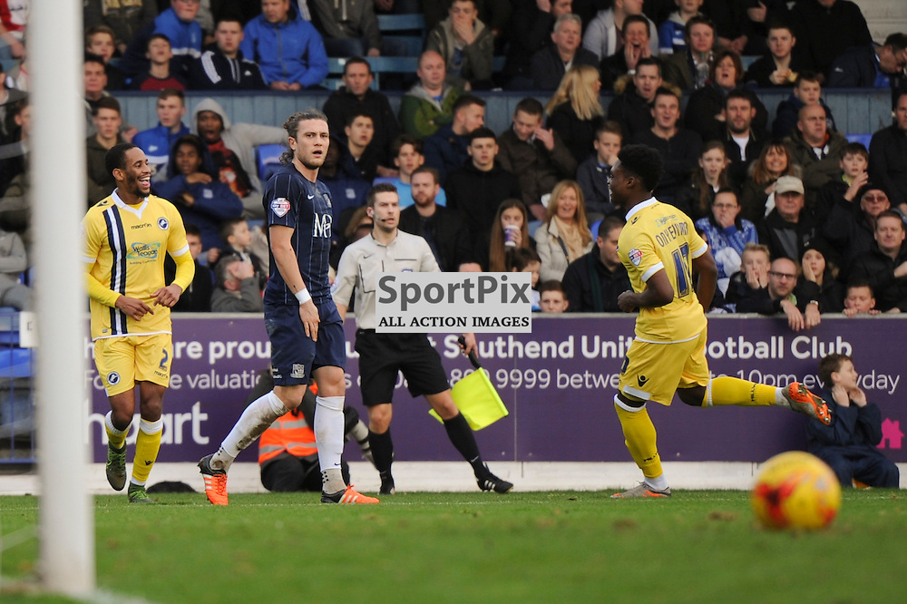 The Millwall players celebrate Southend Dan Bentleys own goal which puts Millwall 2-0 up during the Southend v Millwall game in the Sky Bet League 1 on the 28th December 2015.