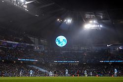 A blue moon is shown on the big screen at the Etihad Stadium - Mandatory by-line: Matt McNulty/JMP - 16/12/2017 - FOOTBALL - Etihad Stadium - Manchester, England - Manchester City v Tottenham Hotspur - Premier League