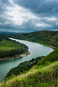 Tavuni Hill Fort overlooking the Sigatoga river, Viti Levu, Fiji, South Pacific