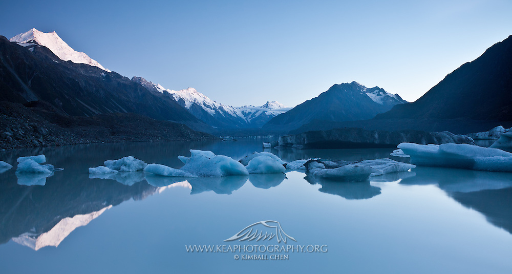 Panoramic of Tasman Glacier Lake at Dawn, New Zealand