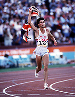 Friidrett<br /> Foto: Colorsport/Digitalsport<br /> NORWAY ONLY<br /> <br /> Sebastian Coe (GBR) on his lap of honour after winning gold. Mens 1500m Final. Los Angeles Olympics 1984. 11/8/84