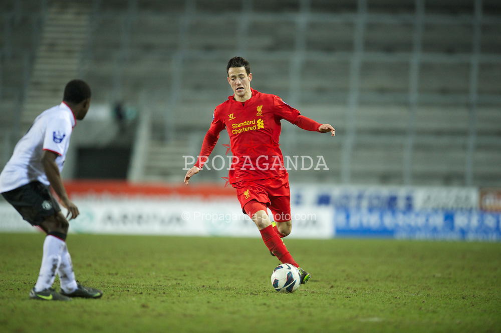 ST HELENS, ENGLAND - Monday, February 25, 2013: Liverpool's Krisztian Adorjan in action against Manchester United during the Premier League Academy match at Langtree Park. (Pic by David Rawcliffe/Propaganda)