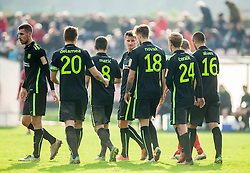 Players of Olimpija celebrate during 2nd Leg football match between NK Aluminij and NK Olimpija Ljubljana in Quarterfinals of Slovenian Cup 2016/17, on October 26, 2016 in Kidricevo, Slovenia. Photo by Vid Ponikvar / Sportida