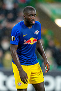 Dayat Upamecano (#5) of RB Leipzig during the Europa League group stage match between Celtic and RP Leipzig at Celtic Park, Glasgow, Scotland on 8 November 2018.