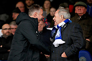 Peterborough Manager Darren Ferguson shaking hands with Director of Football Barry Fry in the stands before the EFL Sky Bet League 1 match between Peterborough United and Coventry City at London Road, Peterborough, England on 16 March 2019.