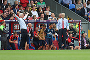 Crystal Palace Manager Alan Pardew and Arsenal Manager Arsene Wenger during the Barclays Premier League match between Crystal Palace and Arsenal at Selhurst Park, London, England on 16 August 2015. Photo by Ellie Hoad.