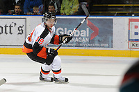 KELOWNA, CANADA, OCTOBER 11: Curtis Valk #18 of the Medicine Hat Tigers skates on the ice as the Medicine Hat Tigers visited the Kelowna Rockets on October 11, 2011 at Prospera Place in Kelowna, British Columbia, Canada (Photo by Marissa Baecker/shootthebreeze.ca) *** Local Caption ***Curtis Valk;