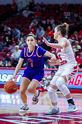 NORMAL, IL - January 05:  Anna Newman defended by Mary Compton during a college women's basketball game between the ISU Redbirds and the Purple Aces of University of Evansville January 05 2020 at Redbird Arena in Normal, IL. (Photo by Alan Look)