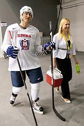 Marcel Rodman and Manca M during practice session of Slovenian National ice hockey team 1 day before IIHF 2011 World Championship Slovakia, on April 28, 2011 in Hala B, Orange Arena, Bratislava, Slovakia. (Photo By Vid Ponikvar / Sportida.com)