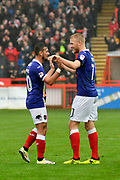 Goal - Jayden Stockley (11) of Exeter City celebrates scoring a goal to give a 1-0 lead to the home team with Lee Holmes (10) of Exeter City during the EFL Sky Bet League 2 match between Exeter City and Grimsby Town FC at St James' Park, Exeter, England on 11 November 2017. Photo by Graham Hunt.