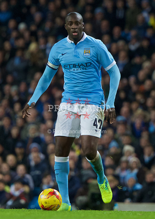 MANCHESTER, ENGLAND - Wednesday, January 27, 2016: Manchester City's Yaya Toure in action against Everton during the Football League Cup Semi-Final 2nd Leg match at the City of Manchester Stadium. (Pic by David Rawcliffe/Propaganda)