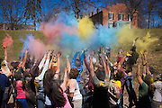Ohio University students gather to celebrate the Holi Festival of Color on Saturday March 15, 2014. The traditional Indian festival is to celebrate harmony and unity through diversity.  Photo by Ohio University / Jonathan Adams