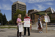 """Tory James, red jacket, is the captain of a CUPE 1393 """"flying squad"""". A """"flying squad"""" is a mobile group that goes to locations requiring extra support. CUPE local 1393 is in its 5th day of a strike against the University of Windsor."""