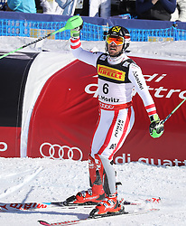 19.02.2017, St. Moritz, SUI, FIS Weltmeisterschaften Ski Alpin, St. Moritz 2017, Slalom, Herren, 2. Lauf, im Bild Marcel Hirscher (AUT, Herren Slalom Herren Slalom Weltmeister und Goldmedaille) // men's Slalom world Champion and Gold medalist Marcel Hirscher of Austria reacts after his 2nd run for the men's Slalom of the FIS Ski World Championships 2017. St. Moritz, Switzerland on 2017/02/19. EXPA Pictures © 2017, PhotoCredit: EXPA/ Sammy Minkoff<br /> <br /> *****ATTENTION - OUT of GER*****