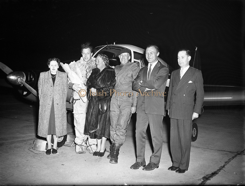 """Max Conrad, co-pilot of 'Piper Apache' which arrived in Dublin.27/02/1957..Maximilian """"Max"""" Conrad, (January 21, 1903 - April 3, 1979 in Summit, New Jersey) known as the """"Flying Grandfather"""", was a record-setting aviator. In the 1950s and 1960s, he set nine official light plane world records, three of which still stand at the end of 2008.  For his efforts, he was awarded the Louis Blériot medal in 1952 and the prestigious Harmon Trophy in 1964. Winona Municipal Airport, also known as Max Conrad Field, in Winona County, Minnesota is named in his honor."""