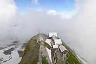 """The mountain Hotel """"Alter Säntis"""" on the peak of the Säntis, Alpstein, Switzerland"""