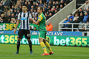 Newcastle United forward Aleksandar Mitrovic  marked by Norwich City defender Steven Whittaker  during the Barclays Premier League match between Newcastle United and Norwich City at St. James's Park, Newcastle, England on 18 October 2015. Photo by Simon Davies.