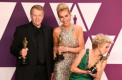 "Kate Biscoe, Greg Cannom and Patricia Dehaney, winners of the Best Makeup and Hairstyling Awards for ""ViceÓ at the 91st Annual Academy Awards (Oscars) presented by the Academy of Motion Picture Arts and Sciences.<br /> (Hollywood, CA, USA)"