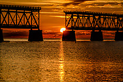 Sunset at the old derelict railway bridge at Bahia Honda State Park