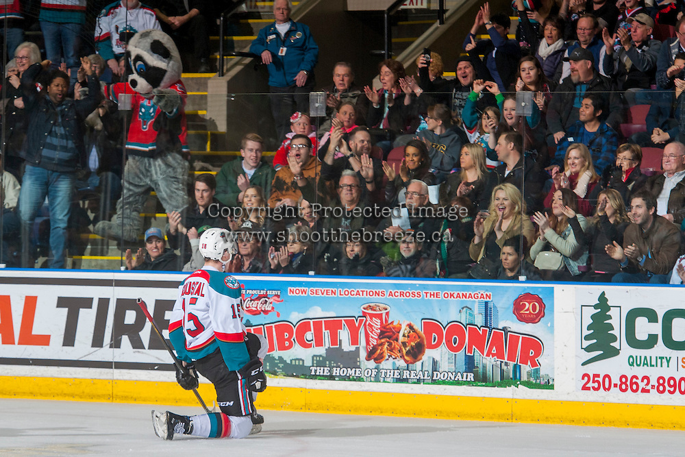 KELOWNA, CANADA - FEBRUARY 18: Tomas Soustal #15 of the Kelowna Rockets celebrates a goal with fans against the Prince George Cougars on February 18, 2017 at Prospera Place in Kelowna, British Columbia, Canada.  (Photo by Marissa Baecker/Shoot the Breeze)  *** Local Caption ***