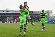 Forest Green Rovers Scott Laird(3) scores a goal 1-0 and celebrates with Forest Green Rovers Chris Clements(22) during the EFL Sky Bet League 2 match between Forest Green Rovers and Chesterfield at the New Lawn, Forest Green, United Kingdom on 21 April 2018. Picture by Shane Healey.