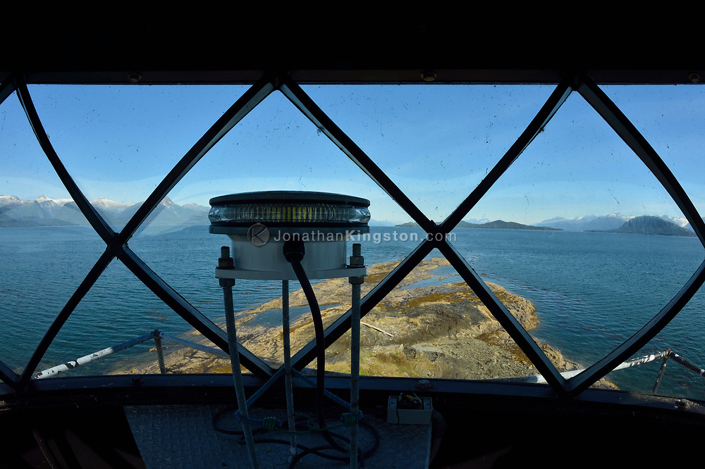 View of the signal light inside light housing of Point Retreat Lighthouse located on the northern tip of Admiralty Island near Juneau, Alaska.