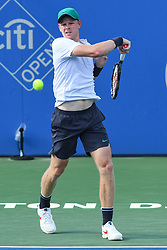 August 1, 2018 - Washington, D.C, U.S - KYLE EDMUND hits a forehand during his 2nd round match at the Citi Open at the Rock Creek Park Tennis Center in Washington, D.C. (Credit Image: © Kyle Gustafson via ZUMA Wire)