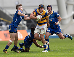 Bay of Plenty's Hugh Blake makes a run Otago's Fletcher Smith, left, lines up a tackle in the Mitre 10 Cup rugby match, Forsyth Barr Stadium, Dunedin, New Zealand, Oct. 7 2017.  Credit:SNPA / Adam Binns ** NO ARCHIVING**