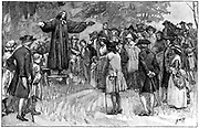 George Whitefield (1714-1770) English evangelist and a founder of Methodism.  Whitefield preaching in the open air. Wood engraving c1870.