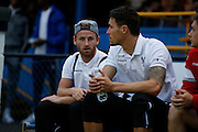 Barry Bannan and Paddy McCarthy look on during the Pre-Season Friendly match between St Albans FC and Crystal Palace at Clarence Park, St Albans, United Kingdom on 21 July 2015. Photo by Michael Hulf.
