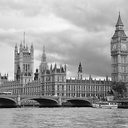 Parliment And Bridge View - London, UK - Black & White