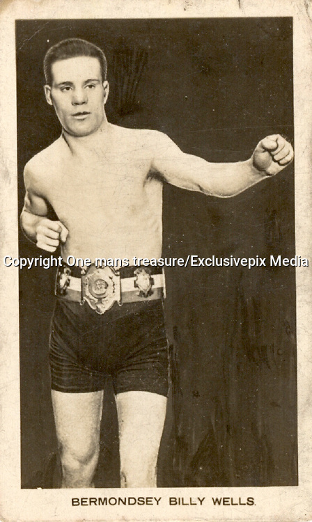 """Amazing images of Britain's best boxers from the 1920's<br /> <br /> From the 1920s up until World War 2 cigarette companies, sporting magazines and boys' weeklies included real photo cards of sports stars to collect and swap. These photos of British boxers come from magazines like The Champion, The Magnet and Boy's Friend and cigarette companies such as Senior Service and Ogdens.<br /> <br /> Photo shows: """"Bermondsey"""" Billy Wells: Born in London, welterweight Billy Wells had his greatest suiccess in North America, where he beat such notables as Dave Shade and Jack Britton in the 1920s. The closest he came to a world title however was in 1922 when he beat Frank Barrieau to win the Canadian Welterweight title.<br /> ©One mans treasure/Exclusivepix Media"""