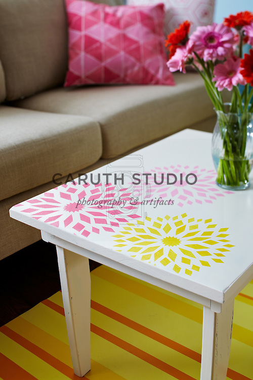 Living room paint projects, stenciled table detail