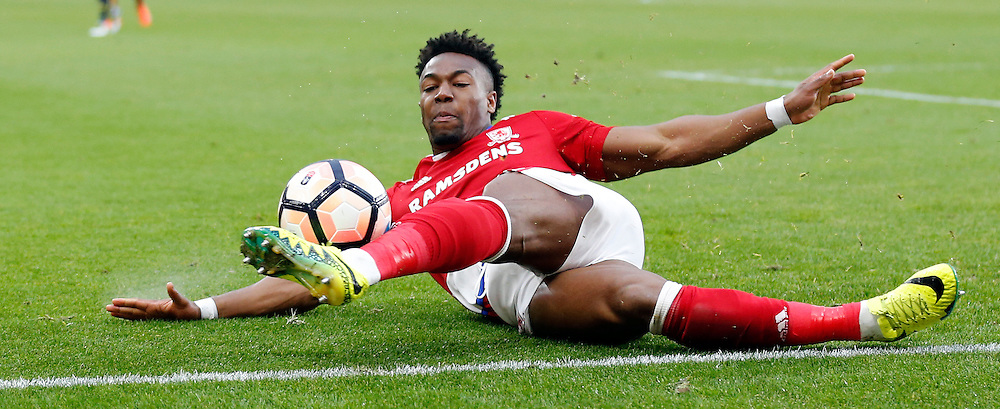 Adama Traore of Middlesbrough during the FA Cup match at the Riverside Stadium, Middlesbrough<br /> Picture by Simon Moore/Focus Images Ltd 07807 671782<br /> 18/02/2017