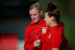 YSTRAD MYNACH, WALES - Friday, April 7, 2017: Wales' captain Sophie Ingle gets a friendly hug from her team-mate Angharad James ahead of the Women's International Friendly match against Northern Ireland at Ystrad Mynach. (Pic by Laura Malkin/Propaganda)