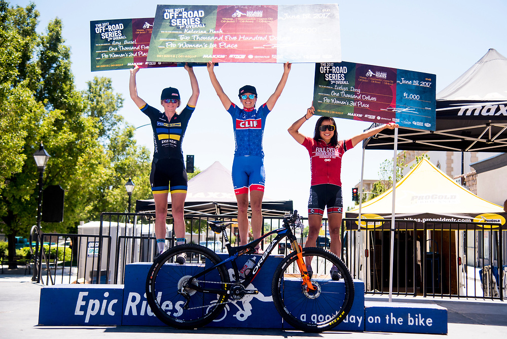 Carson City Off-Road overall series winners in the Pro Women's category are Katerina Nash; second place Amy Beisel, third place Evelyn Dong.
