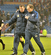 Preston North End Manager, Simon Grayson discusses tactics with his staff at time halfduring the Sky Bet Championship match between Burnley and Preston North End at Turf Moor, Burnley, England on 5 December 2015. Photo by Mark Pollitt.