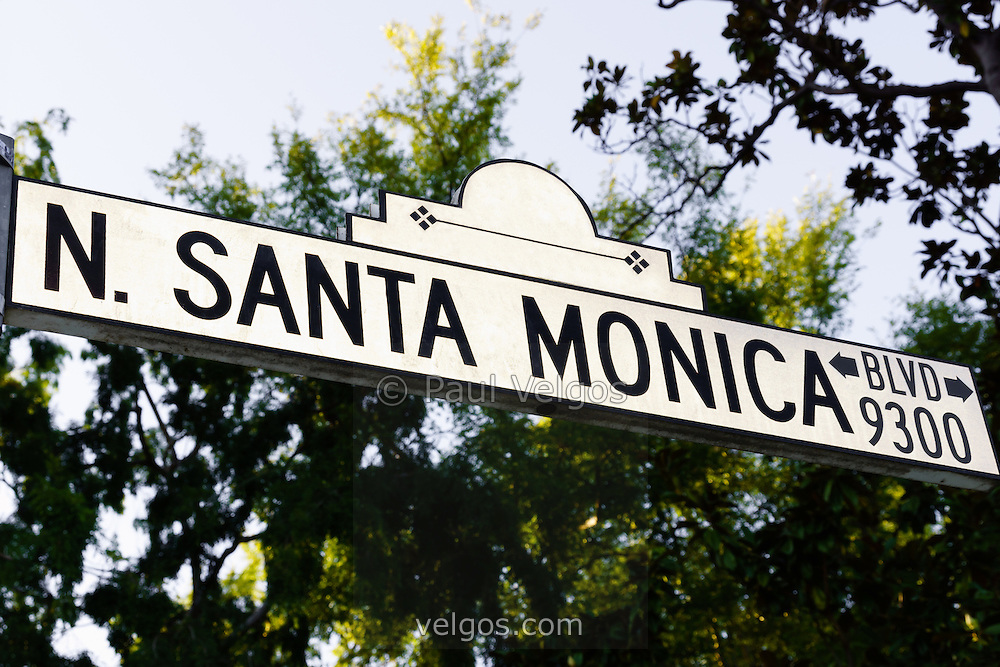 Photo of Santa Monica Blvd street sign in Beverly Hills California. Beverly Hills is a wealthy community of the rich and famous in Los Angeles County in Southern California.