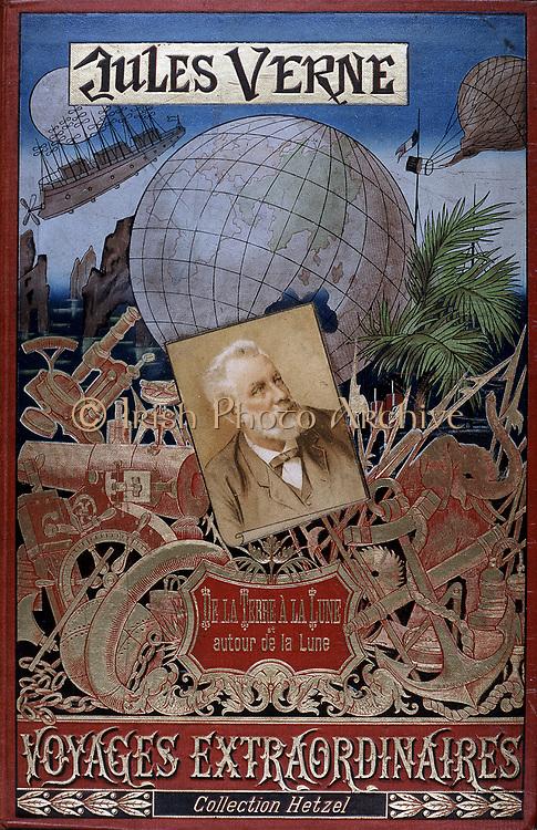 Jules Verne (1828-1905) French novelist: Cover of 'De la Terre a la Lune' and 'Autour de la Lune' from his series ' Voyages Extraordinaires' with picture of the author in the centre. Paris, Hetzel et Cie (1896?).