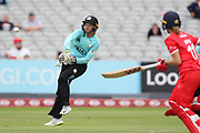 Sarah Taylor (Wicket Keeper) of the Surrey Stars tris to run out Lancashire Thunders Eve Jones during the Women's Cricket Super League match between Lancashire Thunder and Surrey Stars at the Emirates, Old Trafford, Manchester, United Kingdom on 7 August 2018.