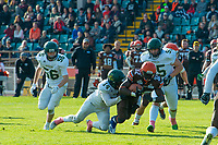 KELOWNA, CANADA - OCTOBER 21: Running back Jesse Amankwaa #32 of the Okanagan Sun is tackled by wide receiver Dakota Mathers #14 of the Chilliwack Huskers during BCFC semi-final play on Sunday, October 21, 2018, at the Apple Bowl, in Kelowna, British Columbia, Canada.  (Photo by Marissa Baecker/Shoot the Breeze)  *** Local Caption ***