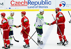 Andrej Tavzelj of Slovenia, Ilya Shinkevich of Belarus, Anze Kopitar of Slovenia, Oleg Yevenko of Belarus after the Ice Hockey match between Belarus and Slovenia at Day 2 in Group B of 2015 IIHF World Championship, on May 2, 2015 in CEZ Arena, Ostrava, Czech Republic. Photo by Vid Ponikvar / Sportida